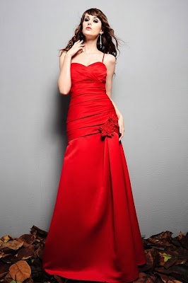 Matte+Satin+Fit+Red+Fabric+Straps+Halter+Length+Bridesmaid+Dress