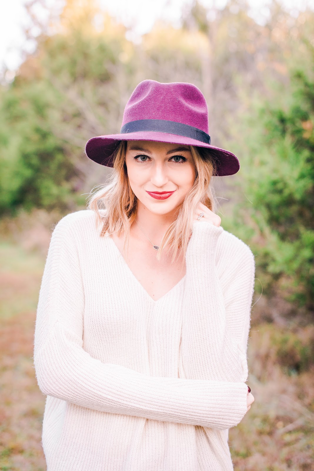 Burgundy hat + cream sweater