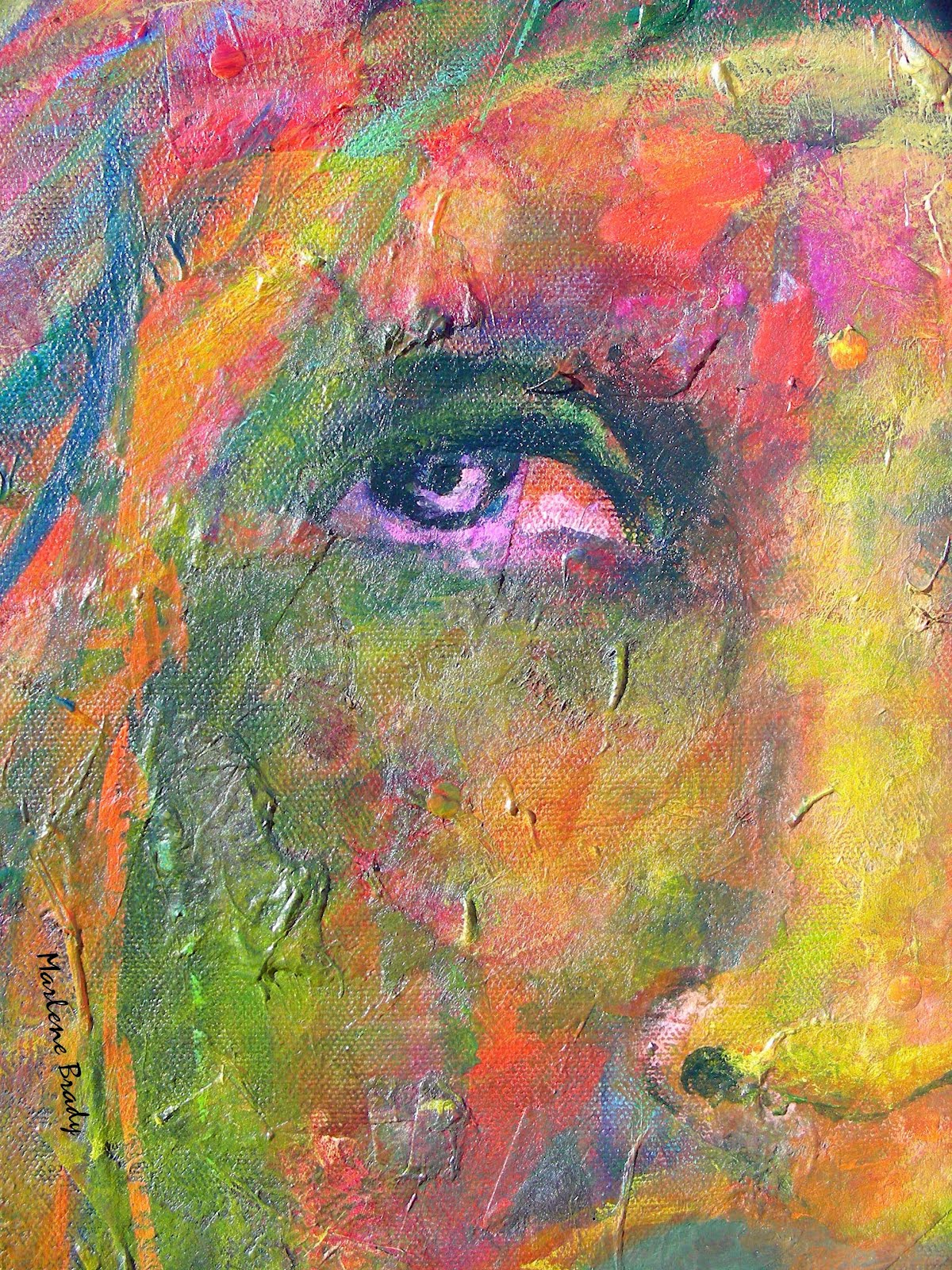 Marlene brady textured abstract face paintings for Textured acrylic abstract paintings