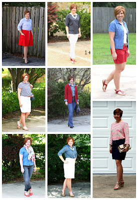 red, white and blue play looks