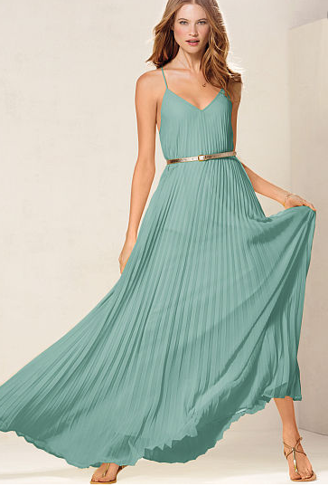 Aqua pleated maxi dress from Victoria's Secret