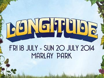 banner for Longitude Festival, Marley Park, Dublin 18-20 July 2014 - light blue background, green leaves, curly text