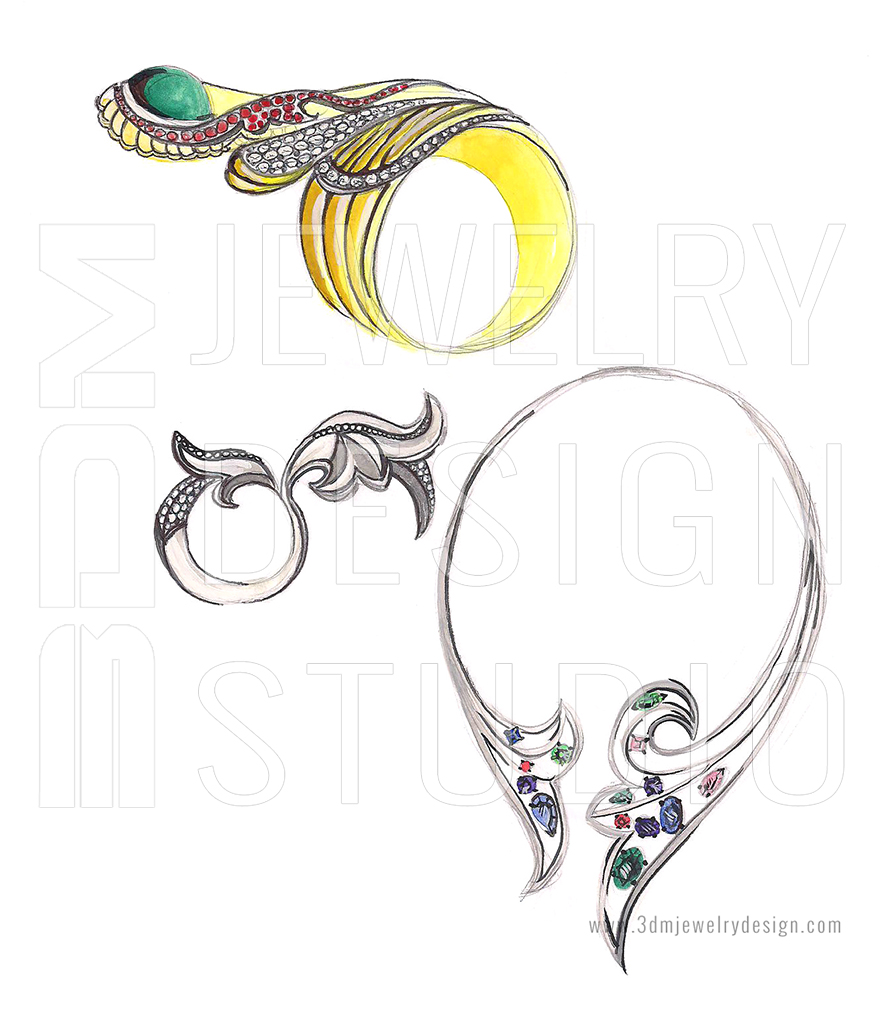 Private jewelry designer collection sketch. ~ 3DM CAD Jewelry ...