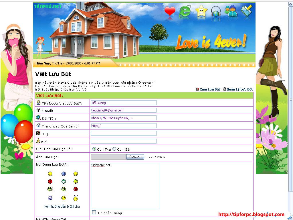 Source PHP Mã nguồn Website Viết Lưu bút trực tuyến