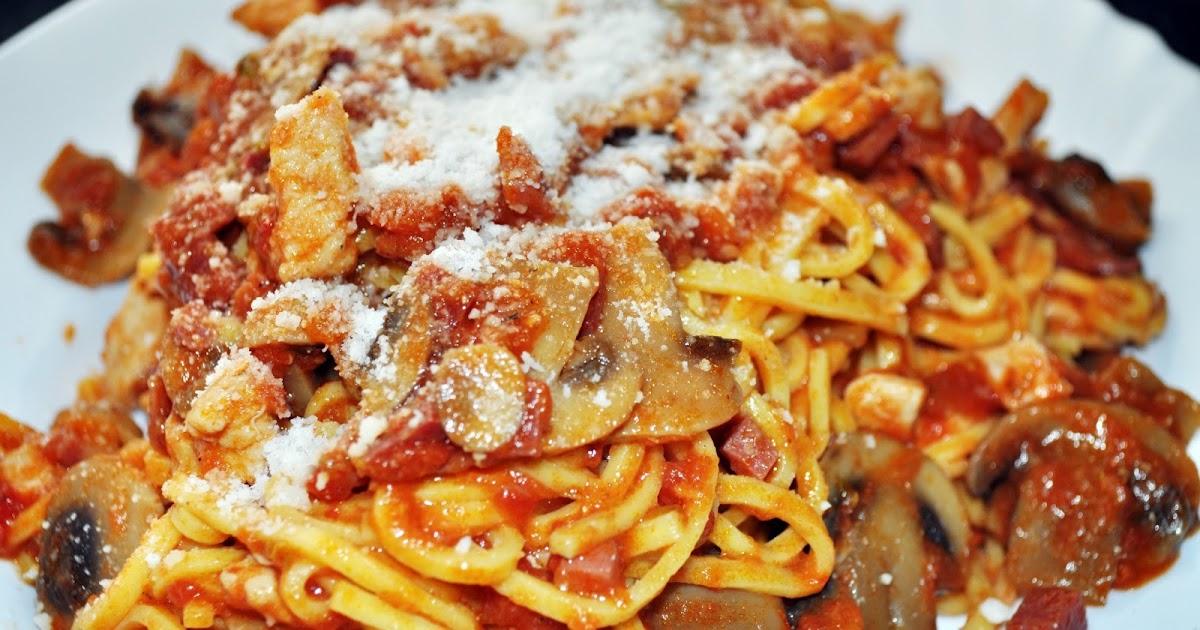 Mi peque a cocina espaguetis con pollo y champi ones - Espaguetis con gambas y champinones ...