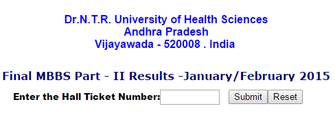 Dr. NTR University NTRUHS Final MBBS Part-2 Results 2015
