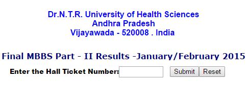 Dr. NTR University NTRUHS Final MBBS Part-2 Results 2015