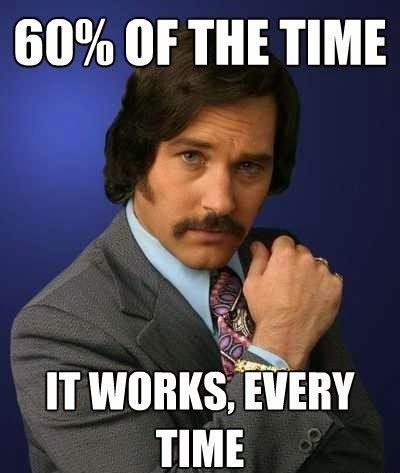 Anchorman The Legend of Ron Burgundy 60 per cent of the time it works every time meme