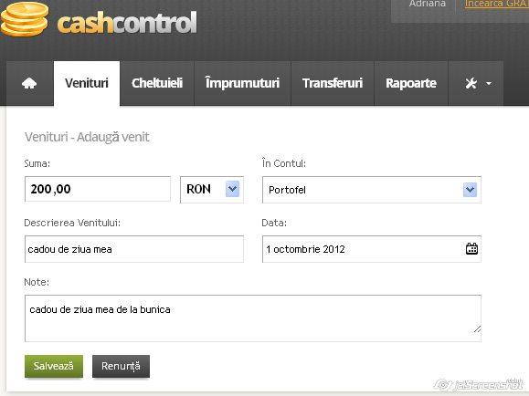 cash control, adaugare venit