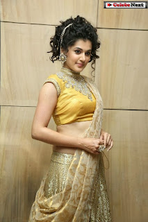 Actress Tapsee Pannu Pictures in Golden Saree at Elite Designer Fashion Show 0015