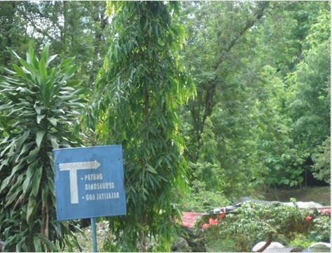 Jalan menuju patung dinosaurus dan kolam jernih