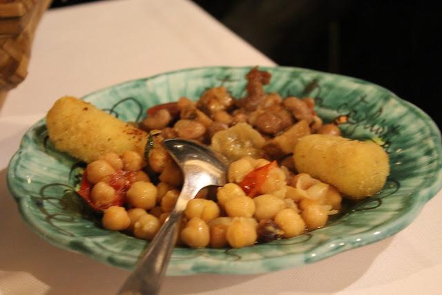 Beans, chickpeas, and potato croquettes at La Tagliata, Positano, Italy