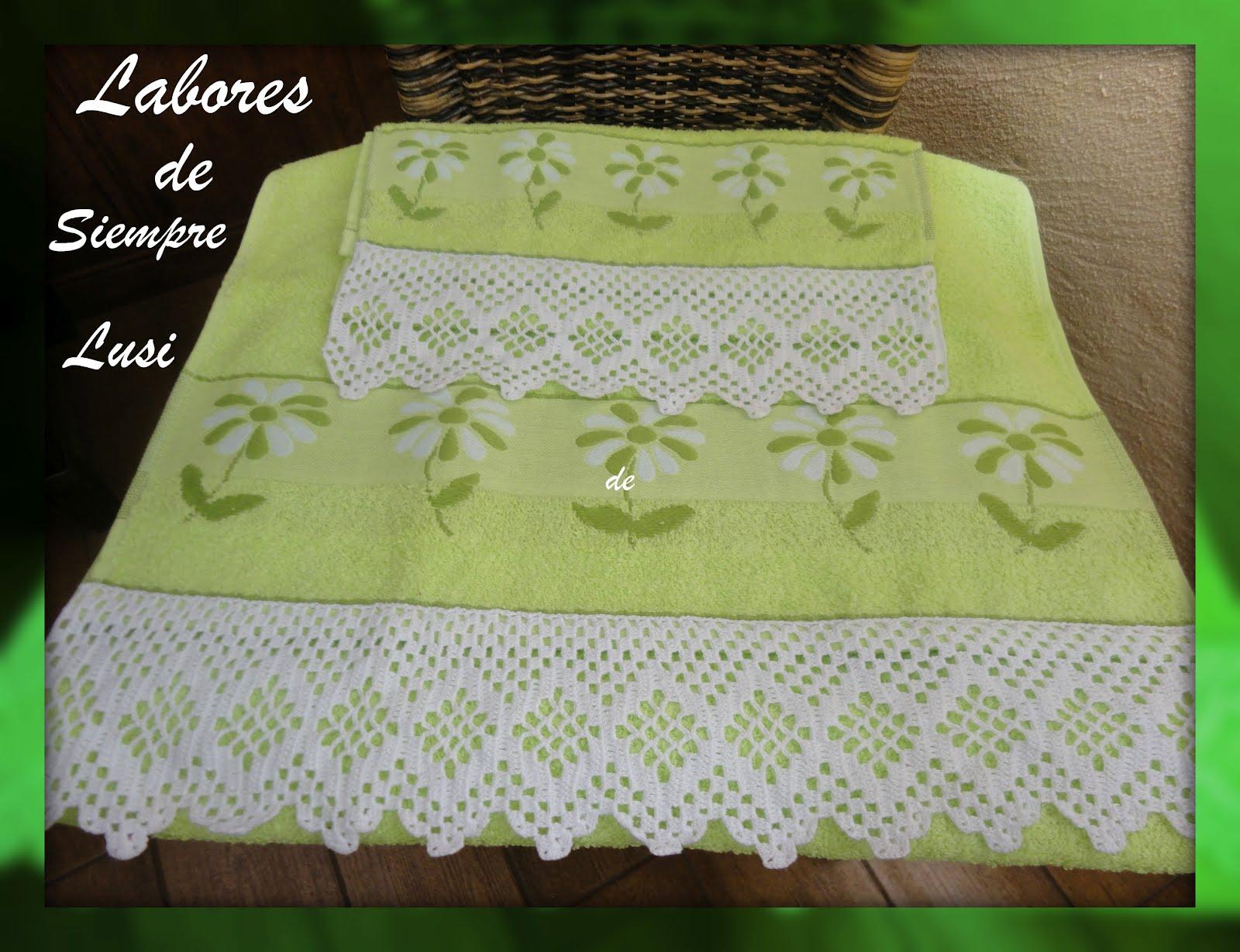 Labores de siempre: Puntillas para toallas verde