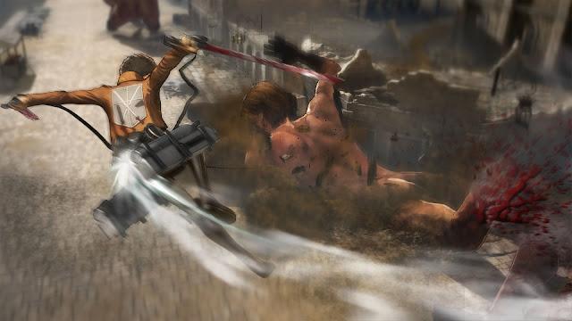 Eren atakujący tytana w grze PS3 i PS4 Attack on Titan