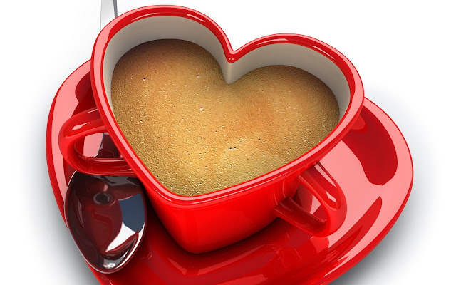 Coffee Red Heart Shape Cup