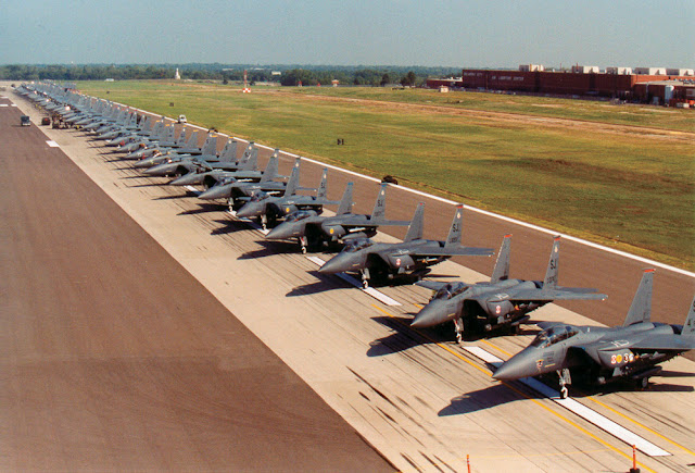 75 F-15E Strike Eagles from Seymour Johnson Air Force Base, N.C., are waiting out Hurricane Isabel on a runway here.