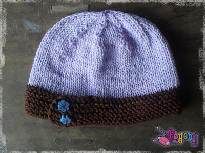 this hat used Sweet Cotton Poyeng dark brown and light purple