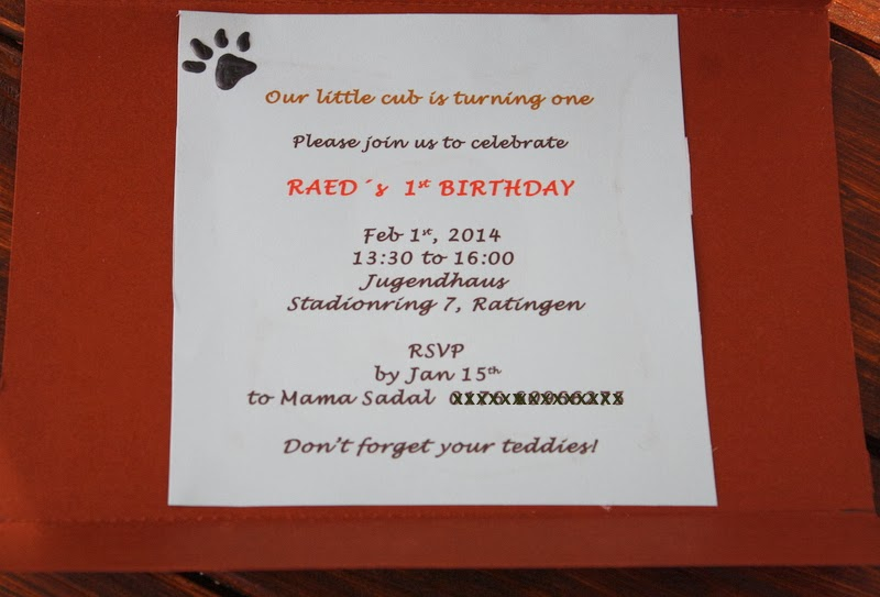 Blue brown Teddy Bear party invitation text