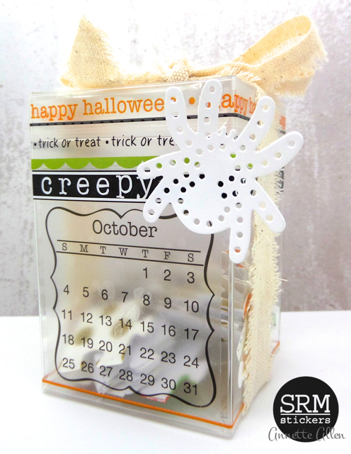 SRM Stickers Blog - Halloween Puzzle Box by Annette - #halloween #gift #altered #stickers #borders #mini calendar