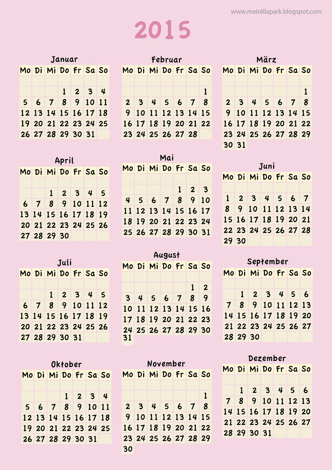meinlilapark free printable calendar 2015 colorful year ausdruckbarer kalender 2015 freebie. Black Bedroom Furniture Sets. Home Design Ideas