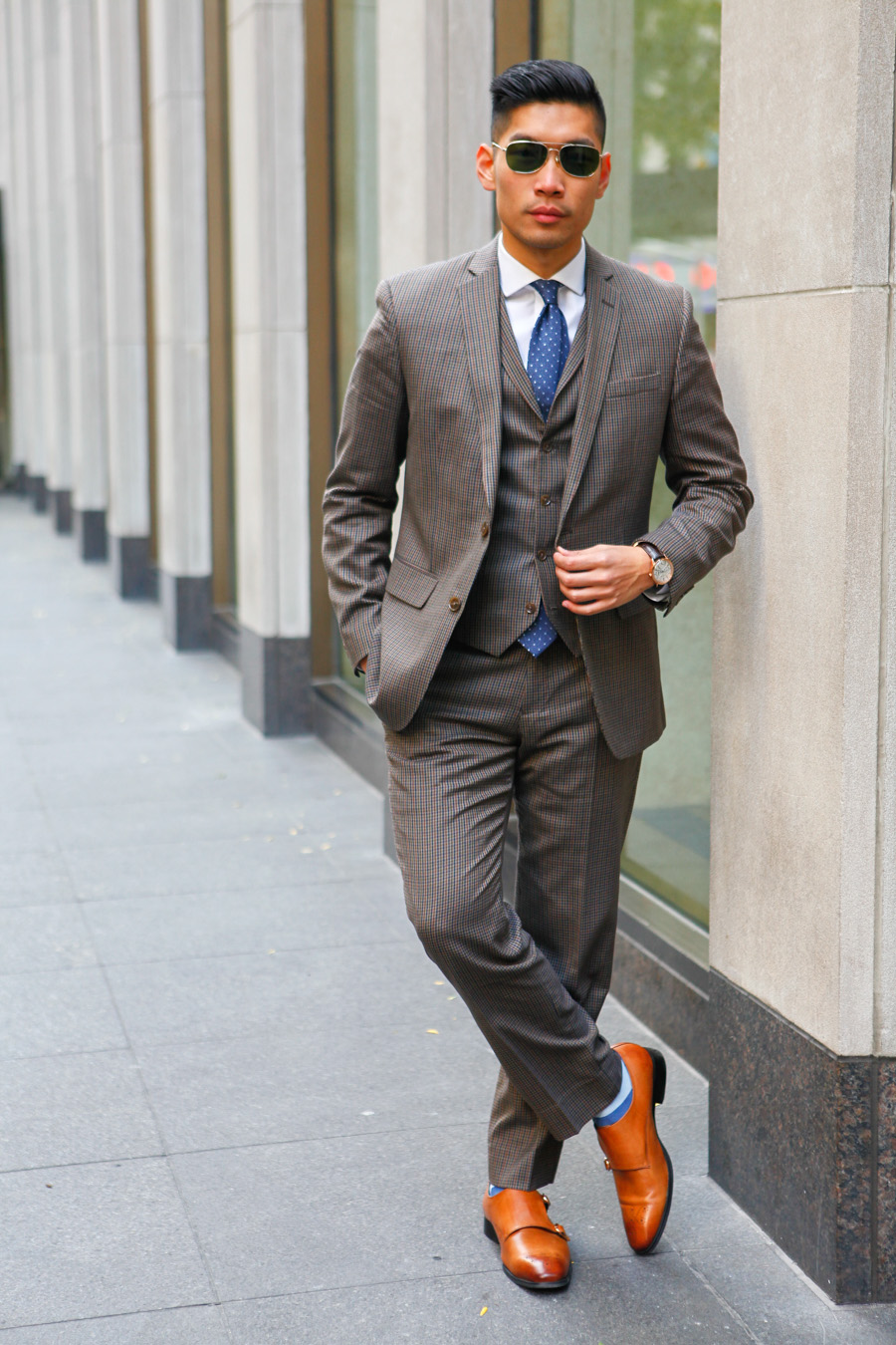 Levitate Style, Bar III, Suit, Three-piece, Wear to Work, Double Monk Strap