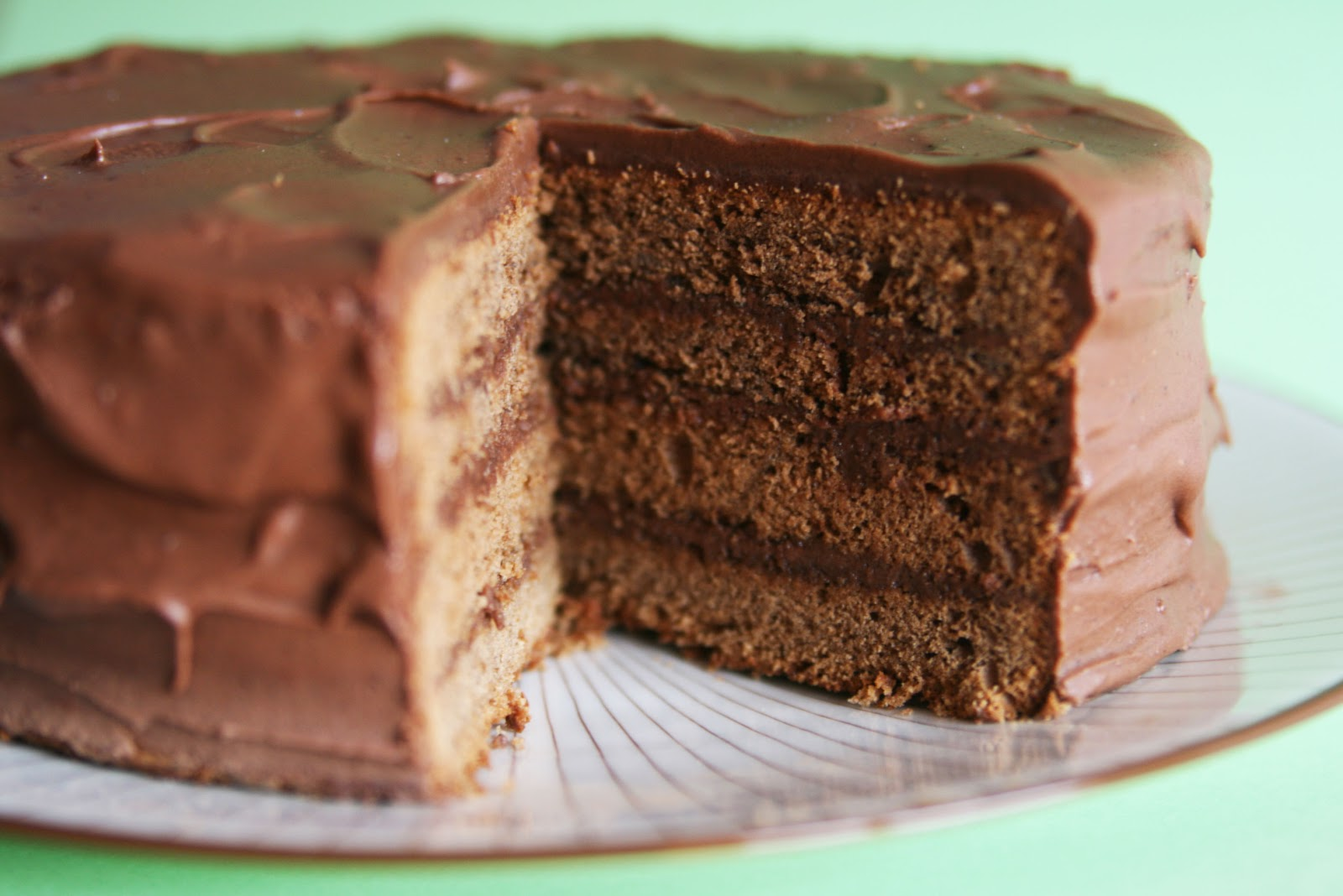 cake into two layers and spread the coffee frosting between each layer ...