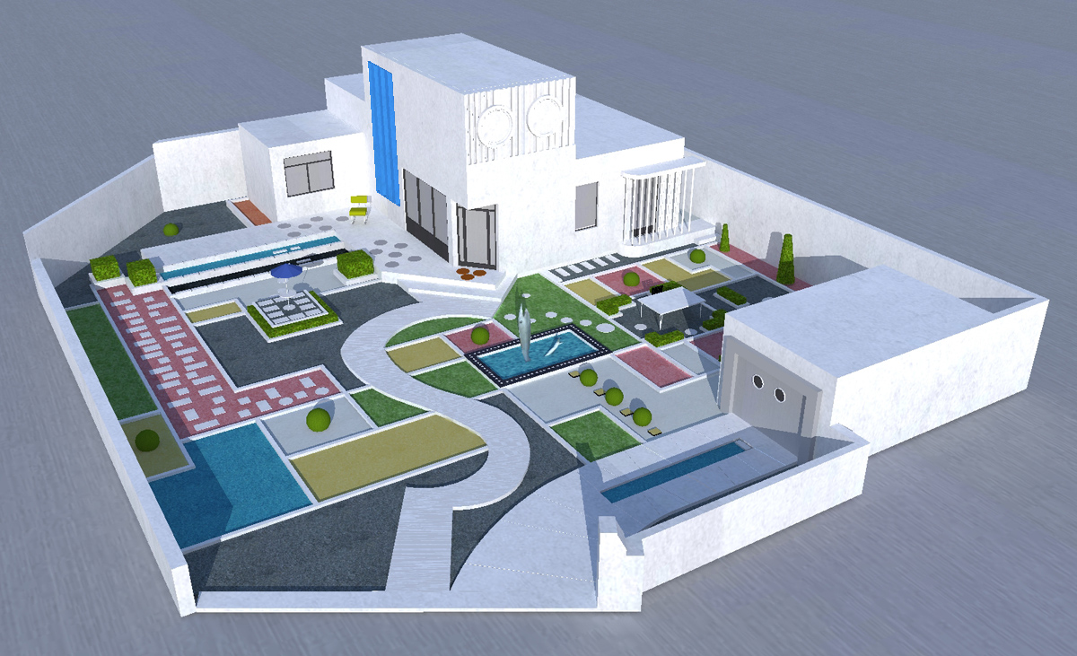 Korzen is in the garden villa arpel croquis sketchup for Plan maison google sketchup