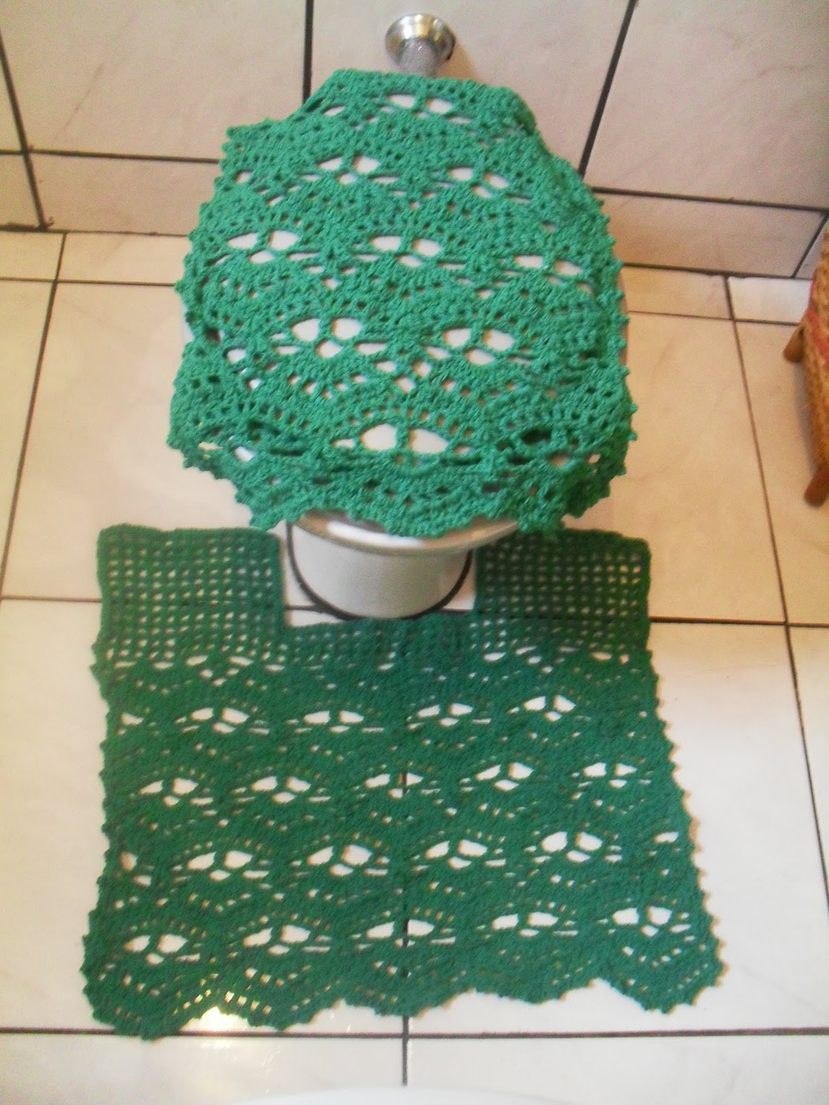Crochê da Keity Jogo de banheiro verde -> Croche Banheiro Simples
