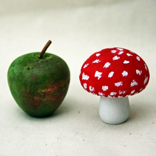 Handpainted apple & mushroom