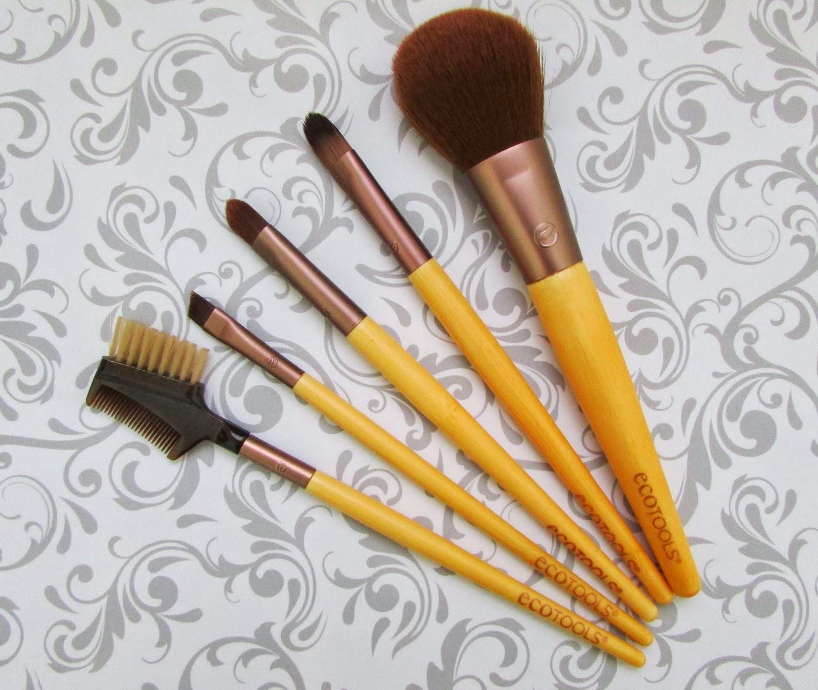 Kit, pincéis básicos, olhos, maquiagem, EcoTools