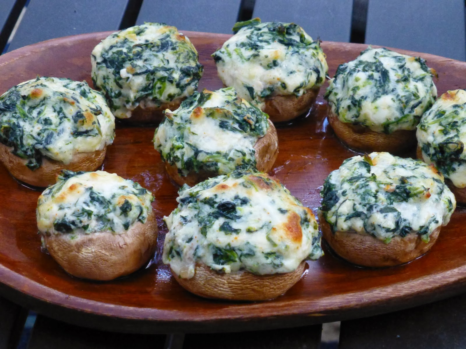 Theresa's Mixed Nuts: Spinach Dip Stuffed Mushrooms