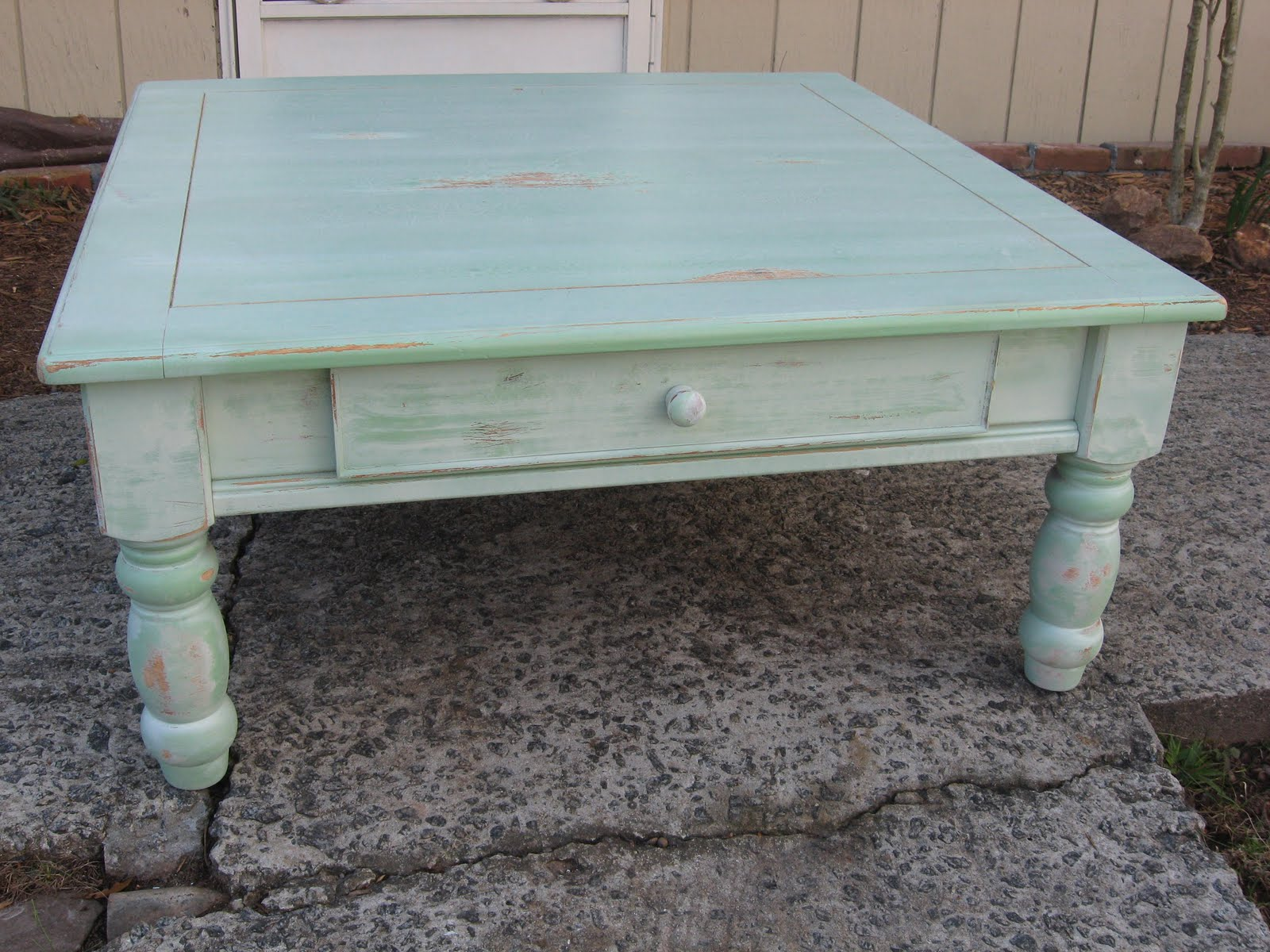 A New Leaf Furniture Green whitewash Coffee Table Sold