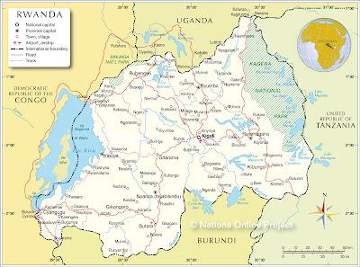 Mapa de Ruanda Mundo País