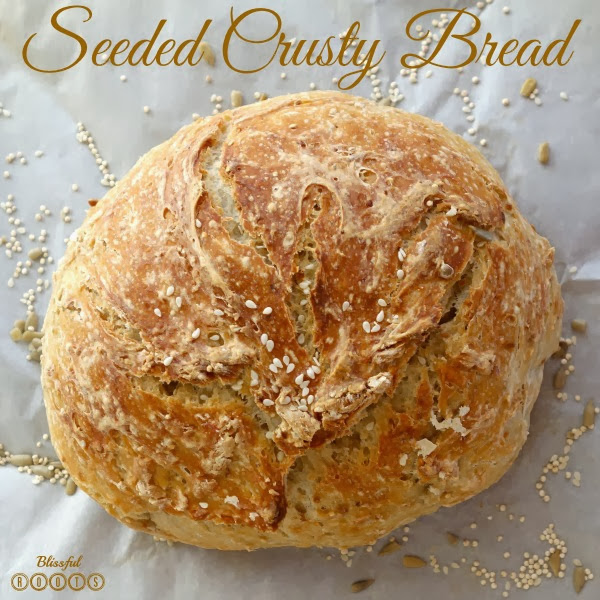 Homemade Seeded Crusty Bread @ Blissful Roots
