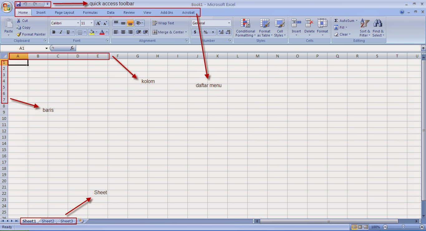 Tutorial Excel 2007 : Pengenalan microsoft excel 2007