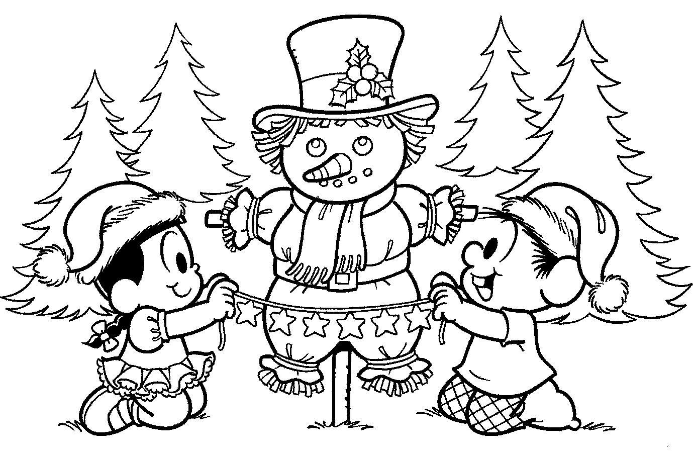 Desenhos Preto e Branco turma da monica em festas de natal Colorir
