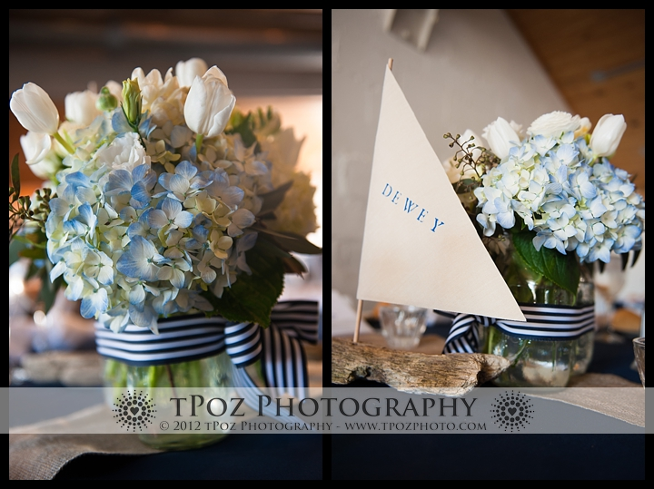 centerpieces at an Annapolis Maritime Museum Wedding