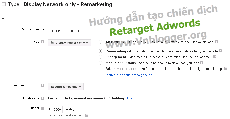 retarget adwords - remarketing adwords - quang cao adwords - huong dan