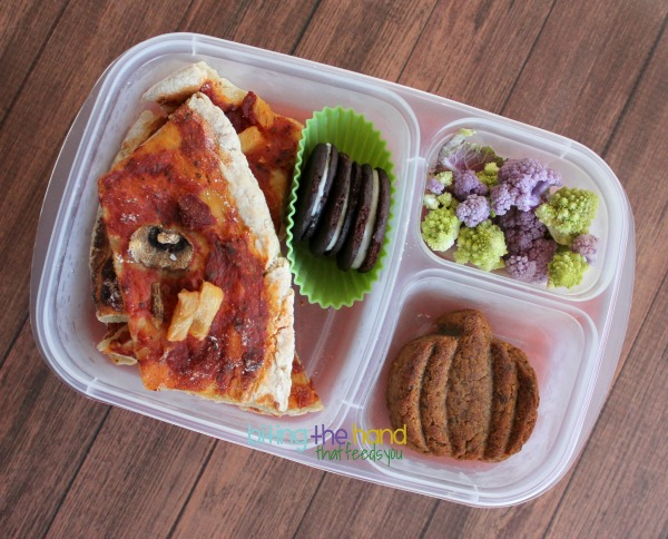 """Gluten-free leftover pizza (dairy-free/cheeseless,) """"Oreos,"""" Meatless Meatloaf Muffin, cauliflower w/dairy-free Ranch"""