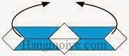Bước 7: Gấp cong hai đầu giấy vào trong để tạo thành vòng tròn.