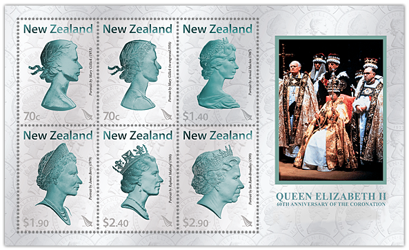 60th Wedding Anniversary Gifts New Zealand : Miniature Sheet showing the six stamps and Queen Elizabeth II at her ...