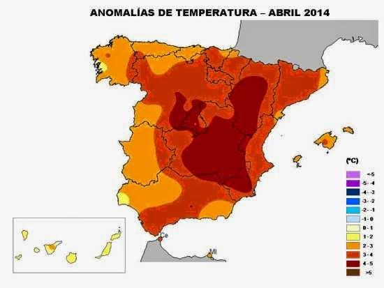 Anomalía en las temperaturas Abril 2014, España