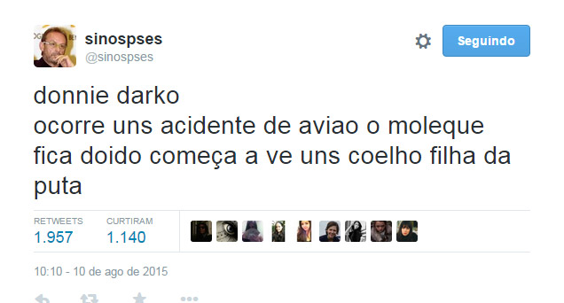 print do twitter @sinopses sobre o filme donnie darko