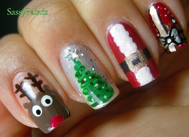 sassy paints ugly christmas nails