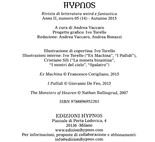Hypnos, Vol. 5, crediti