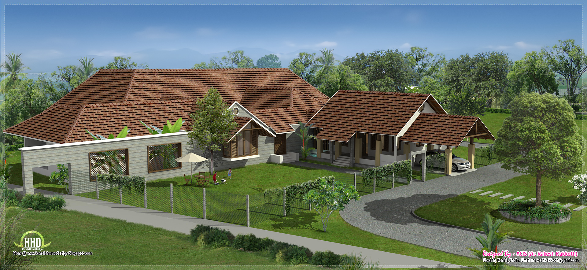 Luxury bungalow exterior design kerala home design and for Bungalow outside design