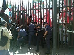 protesta en el parlamento gallego