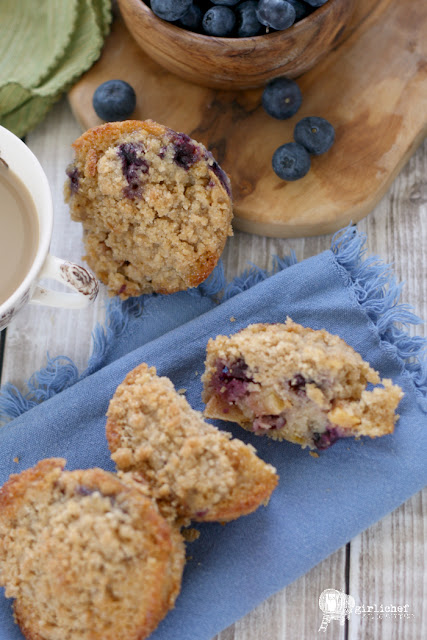 Spiced Blueberry Peach Streusel Muffins