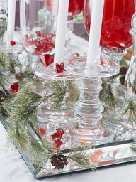 glass candleholders mirrored tray Christmas table