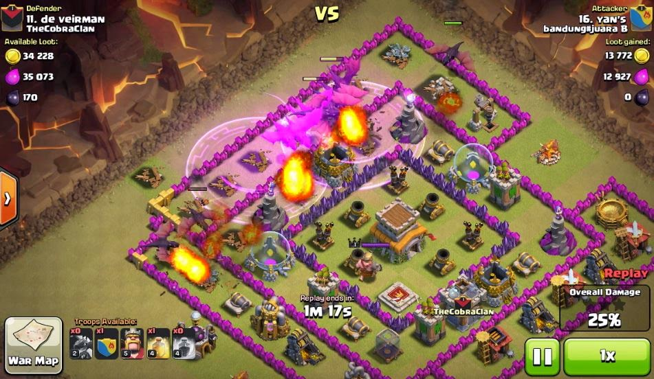 clash of clan rage coc war attacking th8 with th7 dragon baloon by yans 25022015 3